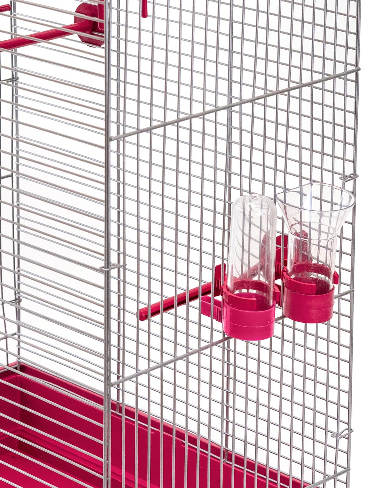 клетка для птиц, для попугаев pettails тоша, разборная, шаг прута 12мм,41*30*76 (поилка,кормушка,жердочки) рубиновый